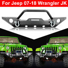 Front Bumper For 87 06 Jeep Wrangler TJ YJ Textured Black w Winch Plate D rings