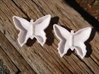 Vintage SET of 2 Jeannette Shell Pink Milk Glass BUTTERFLY ASHTRAYS 1957-1959 EC