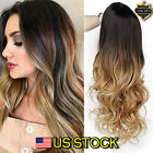 Women's Gold Hair Balayage Black Long Fashion Brown Ombre Wig Wavy Hairstyle USA