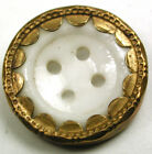 BB Larger Size Antique Brass Rimmed China Button 4 Hole Design - 3/4