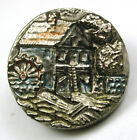 Antique Black Glass Button Detailed Mill Design w/ Silver Luster 11/16