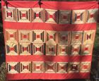 Antique Mid Late 1800s Quilt~ Courthouse Steps Cutter due to Some Fabric Loss