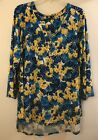 AVA  GRACE Blue and Yellow Floral 3 4 Sleeve Top 3x Beautiful