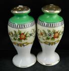 Vintage SALT  PEPPER SHAKERS Footed Pedestal Flowers  Green Neck Japan