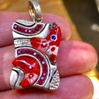 Alan K Murano Glass Crystals Dog Tag Sterling Silver Pendant