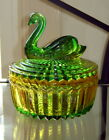 Vintage JEANNETTE Olive Green/Yellow Gold GLASS SWAN Round Covered Trinket Box