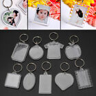 10Pcs Picture Blank Keyrings Transparent Acrylic Key Chains Insert Your Photo