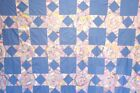 BRILLIANT ANTIQUE QUILT TOP STRING STAR TOPPER  ALL HAND PIECED 1940s