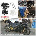 158Pcs Black Aluminum Motorcycle Sportbike Windshield Fairing Bolts Nuts Screws