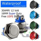 30 AMP METAL MOMENTARY WATERPROOF SWITCH 12V16mm 5 8 HORN STARTER NITROUS BUTTON