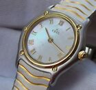 EBEL LADIES CLASSIC WAVE STAINLESS STEEL & GOLD MOTHER-OF-PEARL DIAL WATCH 27mm