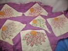 VTG LOT HAND QUILTED APPLIQUE CUTTER QUILT PIECES REPURPOSE COUNTRY PRIMITIVE
