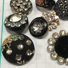 T622 Antique Button Glass Paste French Victorian Fabric Faceted Metal Star Black