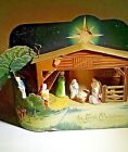 Vintage 1940s Clemco First Christmas Nativity Scene Lighted Music Box TLC