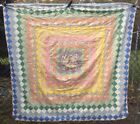 Antique Vintage 1930s Quilt Top ~ Trip Around the World Hand Pieced 64x64