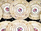 GERMANY hand painted Black Knight set of 8 plates raised gold gilt beaded German