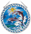 AMIA STAINED GLASS SUNCATCHER 65 ROUND STAR DOLPHIN DOLPHINS 7751