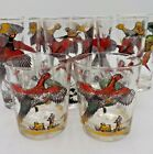 8 Vintage Hazel Atlas Pheasant Hunting Dog 10 oz Tall Drink Glass 2 Low Ball