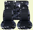 87 95 Jeep Wrangler YJ Camo Blck Front  Rear car Seat Covers JEEP with desig
