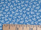 Vtg 90s Tiny White Leaves on Blue Doll Clothes Quilt Sew Fabric 50x44#ff394