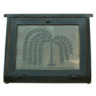Primitive Burnished Black Wood Bread Box w/ Punched Tin Willow Tree