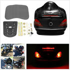 ABS Plastic Motorcycle Trunk Box W/Tail Light Brake Red Turn Light+Backrest Base