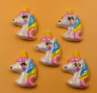 DIY 5 25 50 100PCS Rainbow Unicorn Flatback Resin Cabochon Scrapbooking Crafts