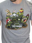 Harley Davidson Looney Tunes Mens WW2 Army Short Sleeve Ash Grey Biker T Shirt