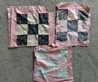 3 Antique Early Textile Folk Art Patchwork Squares Only Cutter Remnant Blocks