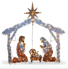 Outdoor Christmas Nativity Scene Yard Lawn Decor 6ft Tall Pre Lit Lighted Xmas