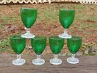 SET of 6 Anchor Hocking BUBBLE Forest Green Early American JUICE WINE GOBLETS NR