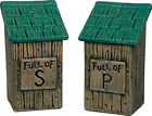 OUTHOUSE Full of SALT  and PEPPER SHAKER Set Ceramic Country Cabin Decor