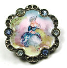 Antique Enamel Button Hand Painted Woman w/ Blue Dress w/ Colored Pastes- 11/16