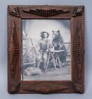 Antique Early 20c Chip Carved Tramp Art Folk Art Picture Frame 9 x 7 1/8