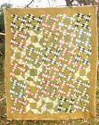 ANTIQUE PATCHWORK QUILT HARLEQUIN DIAMOND PINWHEEL FEEDSACK CALICO AS-IS CUTTER