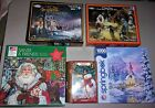 5 Christmas Holiday 1000pc Puzzles Nativity Enchanted Snowman Terry Redlin