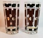 MCM Mid Century Modern 2 Drinking Glasses 12 oz. Brown Stripes Gold Dots Vintage