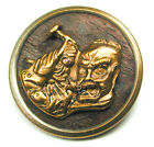 Antique Woodback Brass Button Man Takes Hammer To a Large Head - 11/16