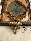 Vintage Deco Amber Rhinestone Movable Pendant Necklace Gorgeous