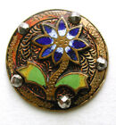 Antique French Enamel Button Colorful Flower w/ Cut Steel Accents - 15/16