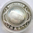 Laos 2007 Year of Pig 15000 Kip Colour Silver Coin,Proof