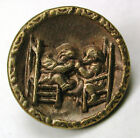 BB Antique Brass Button 2 Children in Chairs Pulling Hair Image  - 11/16