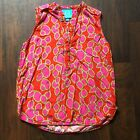 Escapada Pink Red Green Tank Top Blouse Size Small 100 Rayon V Neck