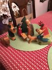 VINTAGE DEPT 56 HAND CARVED PAINTED WOOD PRIMITIVE NATIVITY 9 PIECE LOT