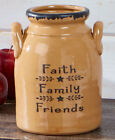 PRIMITIVE DECOR ~ Faith Family Friends Primitive Country Crock