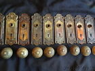 6 Complete Sets of Antique Brass Door Knobs with Matching Back Plates