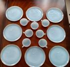Vtg FIRE KING Snack Set Turquoise Blue Azurite 22K GOLD Rim Set 8 Plates 7 Cups