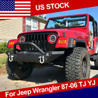 For 87 06 Jeep Wrangler TJ YJ Textured Front Bumper CREE Led Lights Winch PlateT