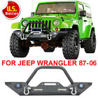 For 1987 2006Jeep Wrangler YJ TJ Front Bumper Winch Plate D Rings