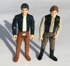 TWO Han Solo action figures 1980 small head and 1984 with camo Trench coat